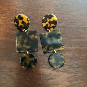 J Crew geometric tortoise shell earrings